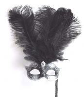 Black & Silver Tall Feather Mask
